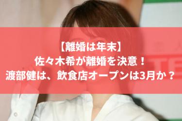 【離婚は年末】佐々木希が離婚を決意!渡部健は、飲食店オープンは3月か?
