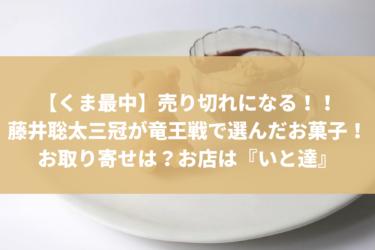 【くま最中】売り切れになる!!藤井聡太三冠が竜王戦で選んだお菓子!お取り寄せは?お店は『いと達』