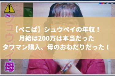 【ぺこぱ】シュウペイの年収が明らかに?!タワマンを購入したのは母のおねだりだった!